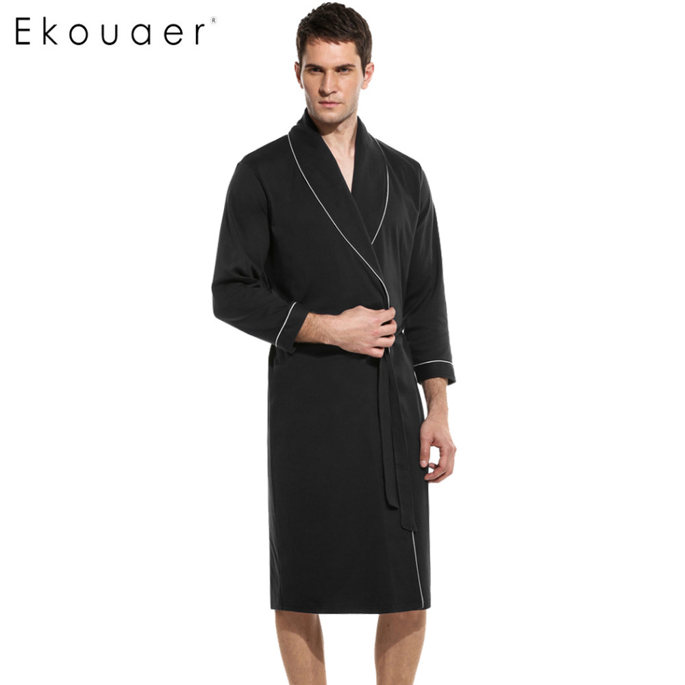 Ekouaer Soild Winter Autumn Casual Cotton Satin Silk Male Nightwear Women Bathrobe Belt  Elegant Bathroom Spa Thick Men Robe