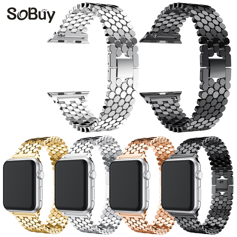 IDG men/womenStainless Steel alloy Watch Band Replacement Strap for iwatch Apple Watch 38mm/42mm series3/2/1 metal bracelet fashion metal stainless steel mesh watch strap for apple watch iwatch wristwatch strap black silver 38mm 42mm replacement