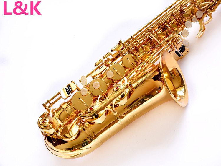 Alto Saxophone instrument NEW FREE SHIPPING EMS UPS alto saxophone 54 E Alto Sax instruments playing professional gold professional alto sax saxophone black nickel body and gold keys abalone shell high f