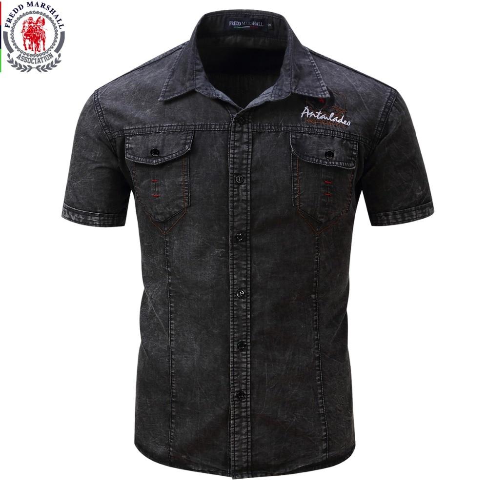 Short Sleeve Denim Casual Dress Shirts