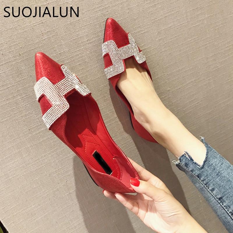SUOJIALUN אופנה נשים שטוח בלט נעלי בלינג גביש הבוהן מחודדת דירות נעלי אלגנטי נוח גברת נעליים מבריקות