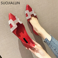 SUOJIALUN Fashion Women Flat Ballet Shoes Bling Crystal Pointed Toe Flats Shoes Elegant Comfortable Lady Shiny Shoes