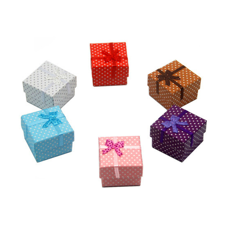 05db5f9f0 Fashionable Paper Bowknot Jewelry Case Small Dot Printing Rings Earrings  Necklace Boxes for Gift
