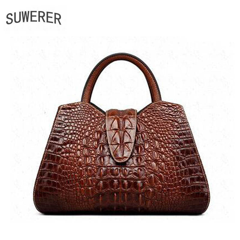 Women's handbags New temperament commuter bag First layer of leather simple handbag Crocodile pattern shoulder bag europe and the new spring and summer leather handbag bag simple cross head layer cowhide temperament mini bag tote bag