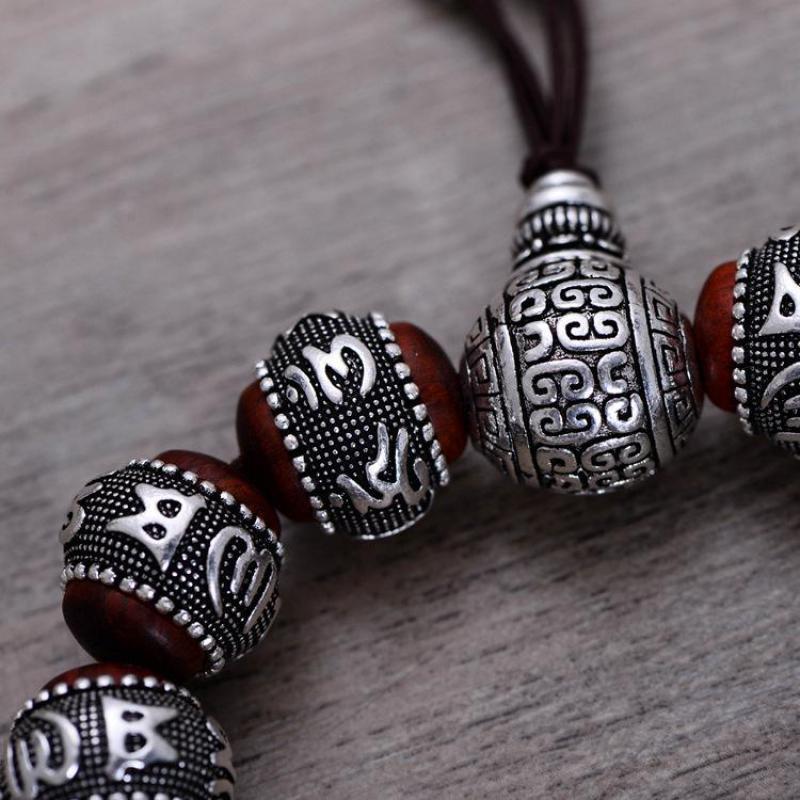 Тибетский ОМ МАНИ ПАДМЕ ХУМ браслет натуральный дольчатый красный сандал инкрустированные 925 пробы серебряной головой Будды мантра для Для мужчин Для женщин влюбленных - 3