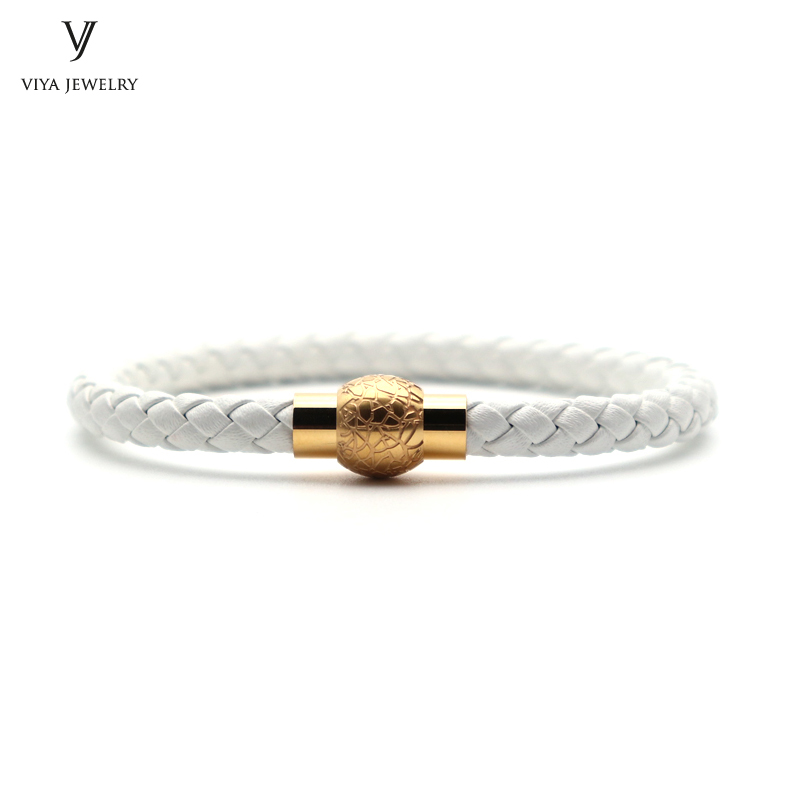 Magnetic Closure Women Leather Bracelet Charming White Cow Braided Leather Magnet Buckle Bracelet Best Friendship Gift Has Box anchor pu leather braided bracelet