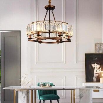 Iskandinav tarzı LED lüks kristal Kolye Işıkları vintage loft demir asılı ışıklar retro oturma odası yemek odası LED kolye Lambaları