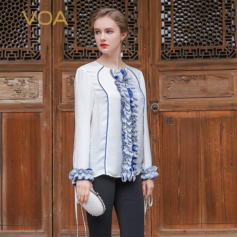 VOA 2017 Summer Silk White Office font b Blouse b font Fashion Chiffon O neck Long