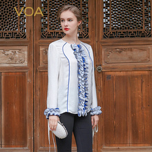 VOA 2017 Summer Silk White Office Blouse Fashion Chiffon O-neck Long Sleeve Ruffle Slim Shirt Plus Size Women Tops BSA00101