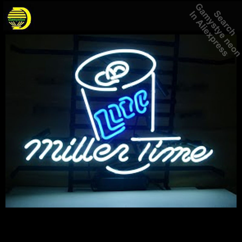 Neon Sign for Miller Time Lite Neon Bulb sign handcraft neon signboard Beer Bar Pub Logo Art Iconic neon light anuncio luminos