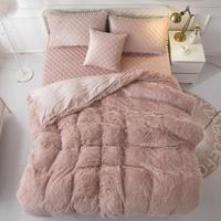 Теплый золотой белый флис ткань зима плотное постельное белье Комплект бархат пододеяльник кровать юбка с начинкой постельное белье навол