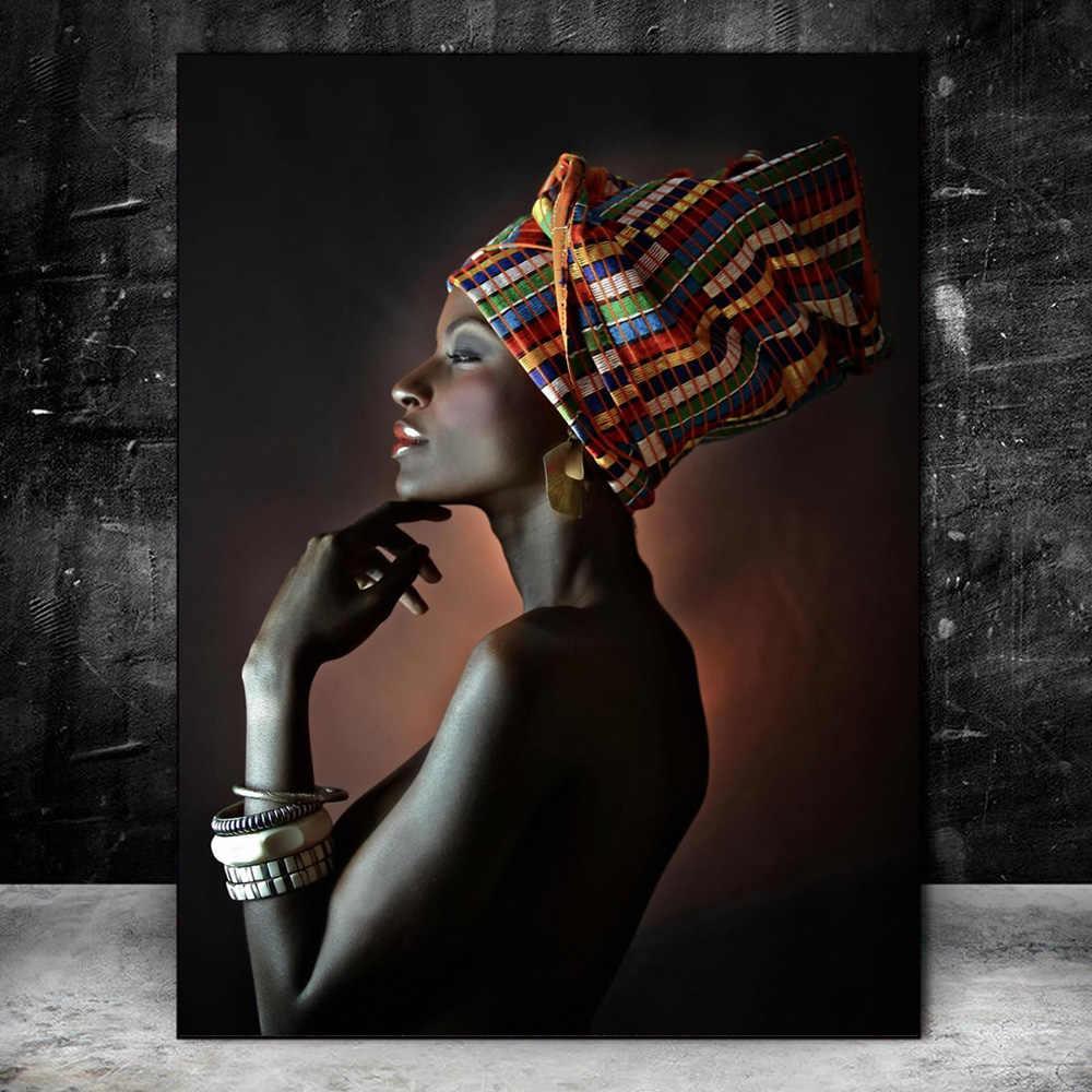 XCSMWJA Leinwanddrucke Afrikanische Schwarze Frau Leinwandbilder An Der Wand Kunst Poster Und Drucke Make Up Frau Kunst Cover Gesicht Wandbilder Home Decor 30x40cm