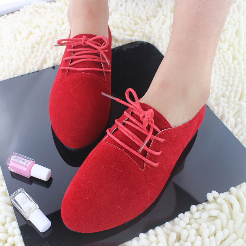 Women Suede Oxford Shoes Woman 2018 Spring Ladies Ballet Flats Lace Up Boat Shoes Woman Oxfords Shoes Chaussures Femme girls fashion punk shoes woman spring flats footwear lace up oxford women gold silver loafers boat shoes big size 35 43 s 18