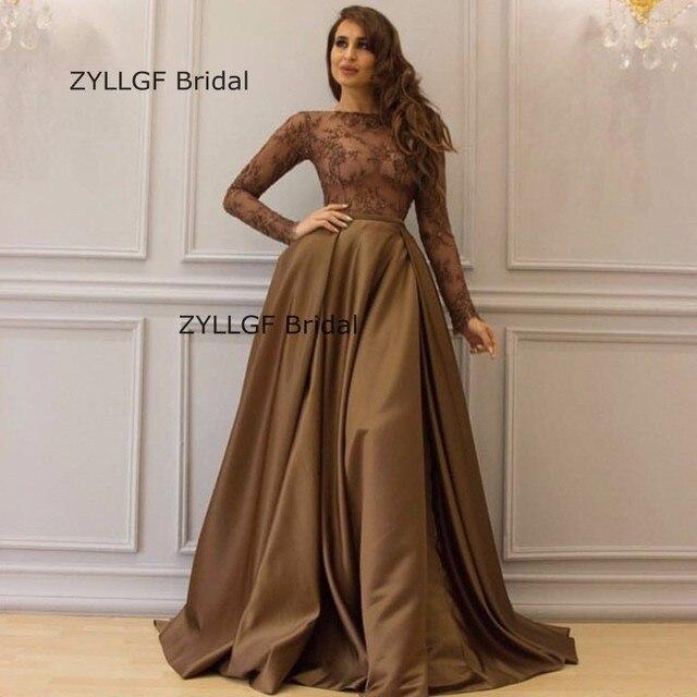 c53a99b19292 ZYLLGF Bridal A-line Full Sleeve Evening Gowns Arabian Abiti Cerimonia  Donna Sera Dubai Evening Dresses Factory Sale SA508