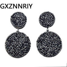 GXZNNRIY Black Earrings for Women Rhinestone Round Drop Earrings 2019 New Korean Fashion Earings Jewelry Woman Accessories