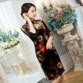 TIC-TEC chinese traditional dress women cheongsam short qipao vintage print velvet elegant oriental dresses wedding cloth P2857