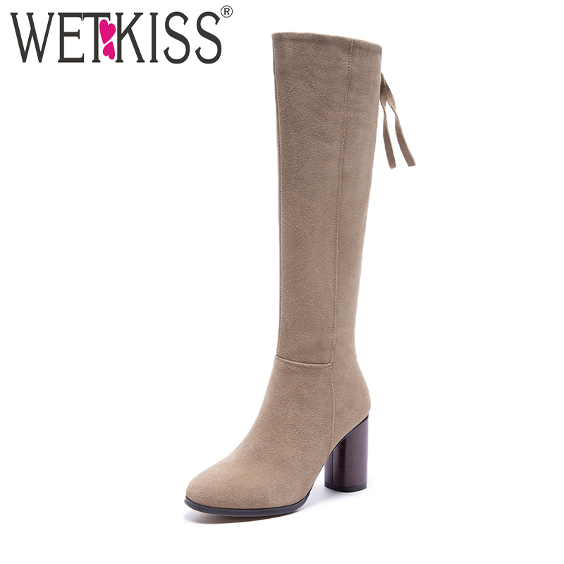 WETKISS Sexy Super High Heel Knee Boots Back Zipper Knee Boots High Quality Genuine Leather Suede Ladies Shoes Woman Rubber Sole ppnu woman winter nubuck genuine leather over the knee snow boots women fashion womens suede thigh high boots ladies shoes flats