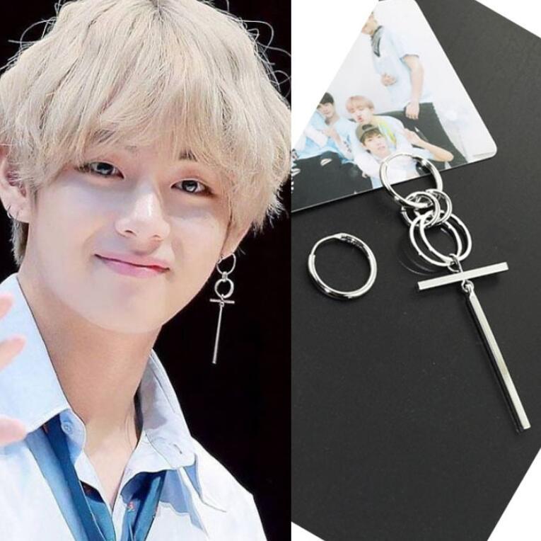 Jisensp Korean Fashion Style Punk Bangtnn Boys Earrings For Men Asymmetric Pop Jewelry V DNA Earrings Friendship Party Gift