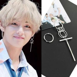 Jisensp Korean Fashion Style Punk Bangtnn Boys Earrings for Men Asymmetric Pop Jewelry V DNA Earrings Friendship Party Gift(China)