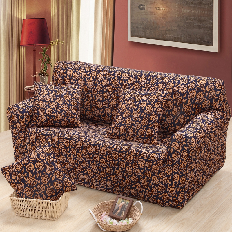 Lovely camellia sofa cover fabric for single double three seat sofa covers couch cover Spandex sofa