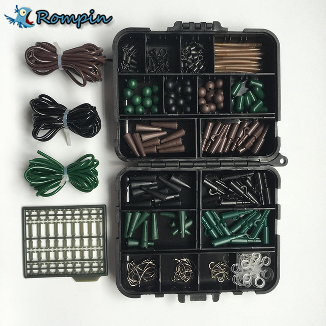 Rompin Carp Fishing tackle box Hair Rig Combo box Accessories Hooks Rubber Tubes Swivels Beads Sleeves Stoppers
