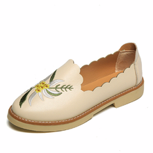 LISM Womens Flat shoes 2018 New Spring Autumn Embroidered Comfort Leisure Breathable Lazy National Wind apartment