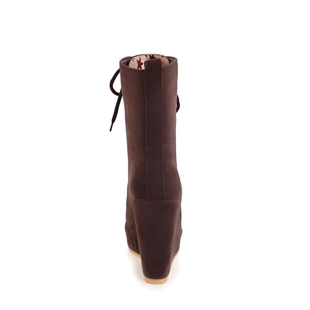 CDPUNDARI Lace up süet takozlar yarım çizmeler kadınlar için yüksek topuklu platformlar çizmeler bayanlar kış ayakkabı kadın