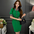 Original 2016 Brand Robe Summer Plus Size Zipper Slim Casual Fashion Dress Women Wholesale
