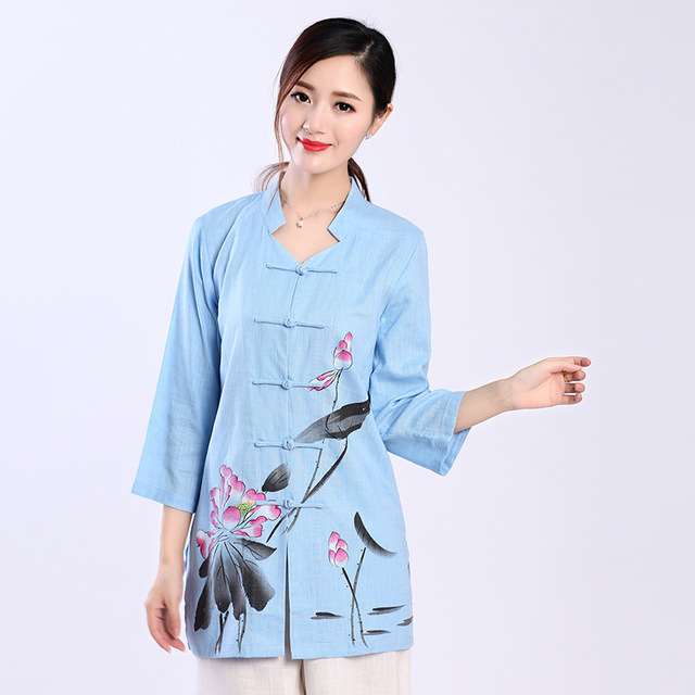 Blue Plus Size XXXL Chinese Women Cotton Linen Shirt Vintage Print Flowers  Blouse Spring Autumn Long Style Tang Suit Top 2620 d2d7dbb4939c
