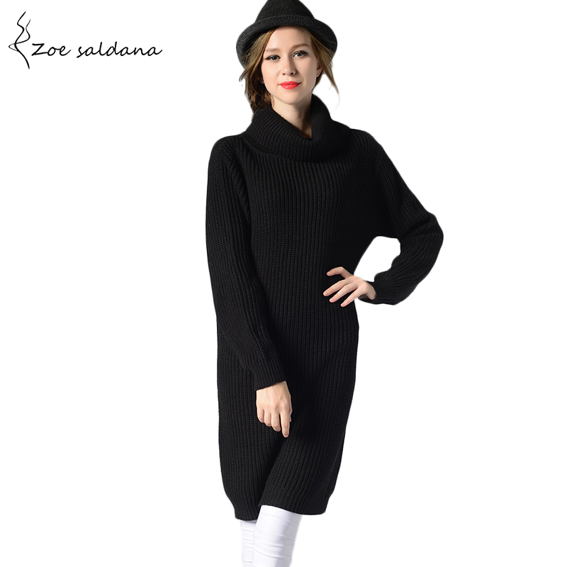 Zoe Saldana 2018 Women Turtleneck Long Knitted Sweater Dress Pullover Female Autumn Winter Oversize Dress women turtleneck front pocket sweater dress