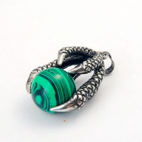 Natural Green Stone Dragon Claw Neclkace 5