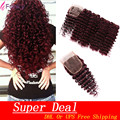 Brazilian Deep Wave With Closure 99J Red Hair Bundles With Lace Closures Burgundy Human Hair Weaves 4 Bundles With Closure