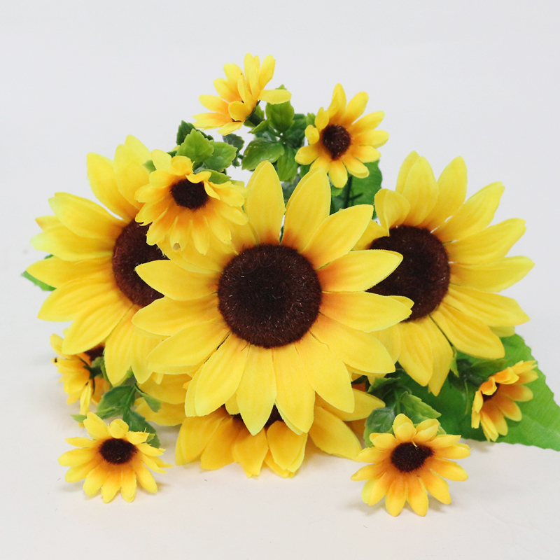 JAROWN Simulation Sunflower Bouquet Artificial Silk Fake Flowers For Home Office Tabletop Decor Wedding Decorations (9)
