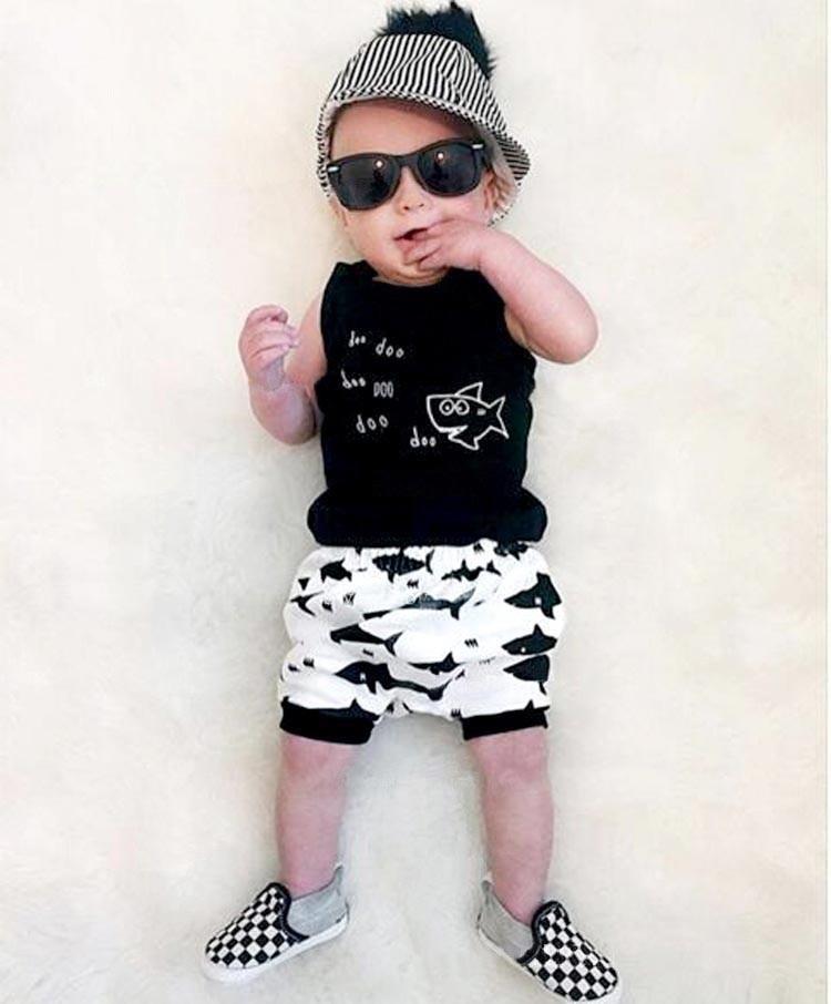 Baby boy clothing sets Small fish 100% Cotton sleeveless 2pcs suit (T-shirts+shorts) Baby boys girls clothes