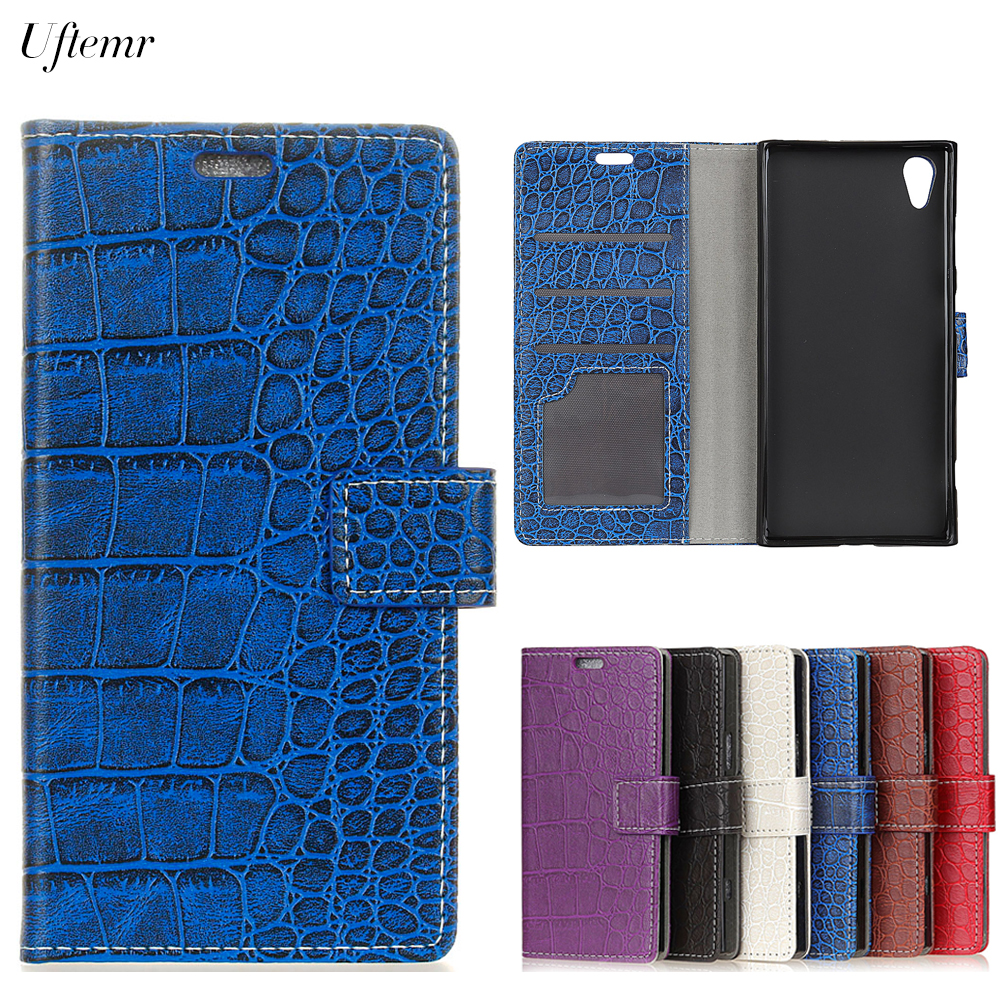 Uftemr Vintage Crocodile PU Leather Cover For Sony Xperia XA1 Protective Silicone CaseFor Sony XA1 Plus Card Slot Acessories