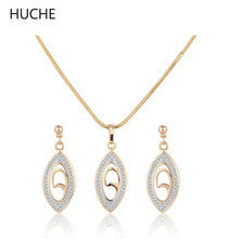 HUCHE Engagement Jewelry Set for Women Gold Platinum Plated Crystal Zircon Earing and Necklace Sets 2016 Hot Sale T010