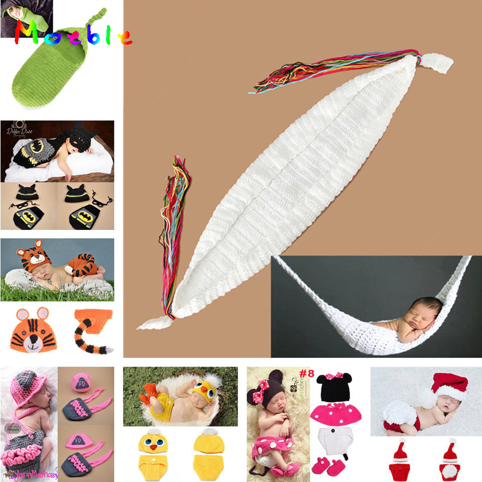 Accessories Crochet White Hammock Baby Photography Props Boy Girl Knitted Photo Props Newborn Bebe Foto Props 1set Mzs-14028
