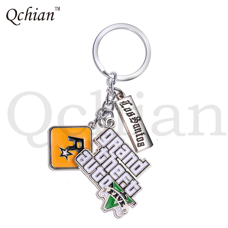 PS4 GTA 5 Game keychain Hot Sale Grand Theft Auto 5 Key Chain For Fans Xbox PC Rockstar Key Ring Holder 4.5cm Jewelry Llaveros