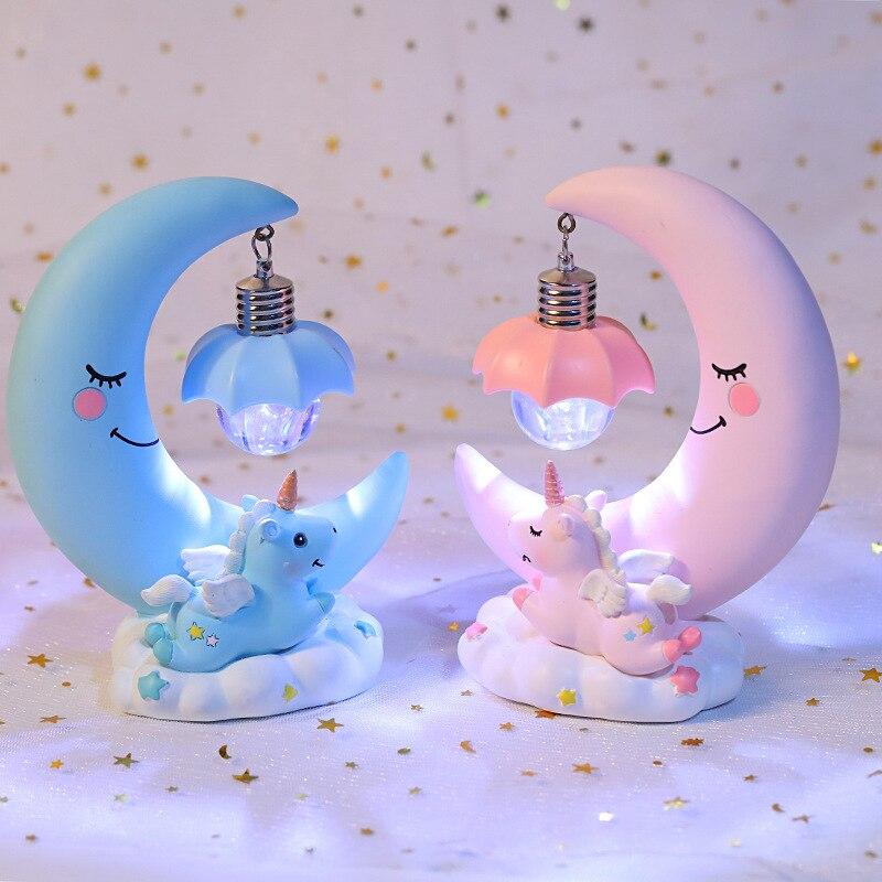 Cute Cartoon LED Night Light Unicorn Moon Resin Night Light Romantic Bedroom Decoration Lamp Baby Child Birthday Gift