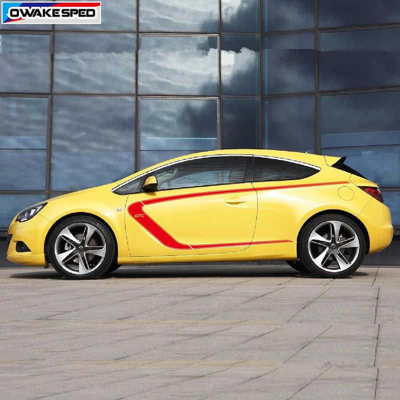 Pour Opel Astra GTC course Sport style vinyle décalque Auto carrosserie porte côté décor autocollants accessoires de Protection de voiture