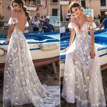 Smileven Beach Wedding Dress Spaghetti Straps 2019 Backless Lace Bride Sexy V Neck  Appliques Boho Long Bridal Gown
