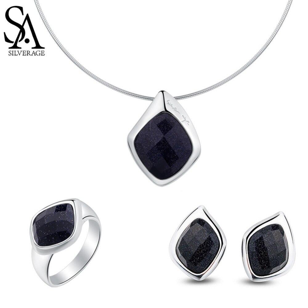 SA SILVERAGE 925 Sterling Silver Black Aventurine Rhombus Shape Pendant Necklaces Stud Earrings Wedding Rings Jewelry