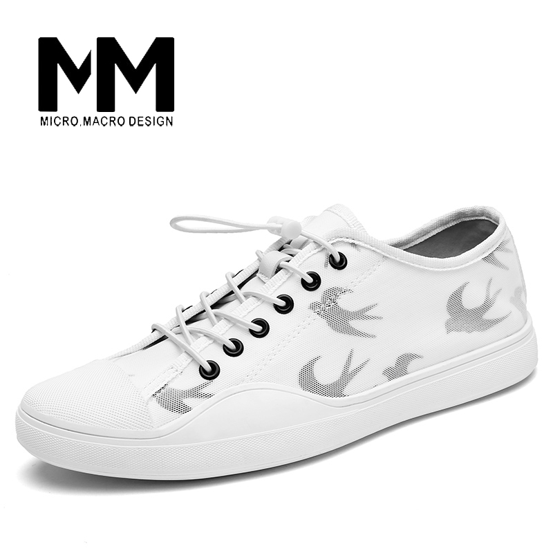 MICRO.MICRO 2017 men casual shoes comfortable spring fashion breathable white shoes swallow pattern microfiber  shoe YJ-A081 2017 new spring british retro men shoes breathable sneaker fashion boots men casual shoes handmade fashion comfortable breathabl