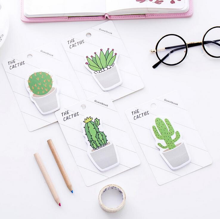 Novelty Cactus Love Memo Pad Sticky Notes Memo Notebook Stationery Papelaria Escolar School Supplies 2018 pet transparent sticky notes and memo pad self adhesiv memo pad colored post sticker papelaria office school supplies
