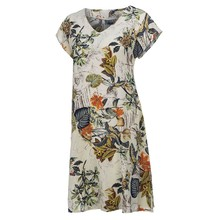 Plus Size 5XL Women Vintage Dress Flower Printed V-Neck Short Sleeve Linen Casual