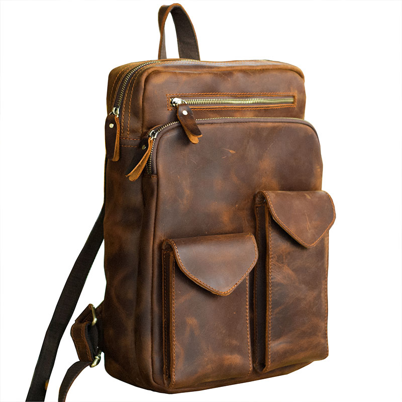 High quality Durable Horse Oli Genuine Leather Mens real Leather Shoulder Bag Travel Waterproof Backpack Head Cream Leather BagHigh quality Durable Horse Oli Genuine Leather Mens real Leather Shoulder Bag Travel Waterproof Backpack Head Cream Leather Bag