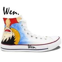 5b4adfd68744 Wen Design Custom Anime Hand Painted Shoes One Piece Ace Luffy High Top Men  Women s
