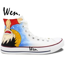 Wen Design Custom Anime Hand Painted Shoes One Piece Ace Luffy High Top Men Women's Canvas Sneakers for Birthday Gifts