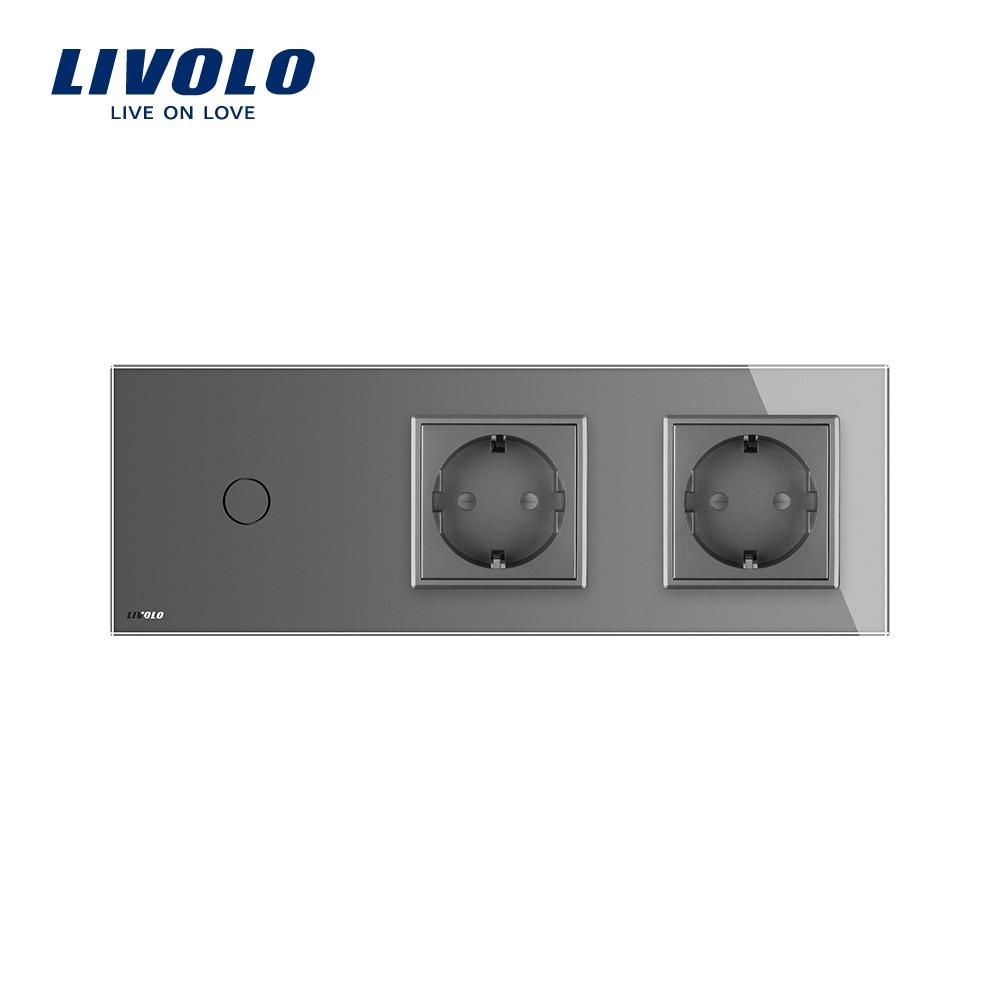 Livolo UE alimentation standard des connecteurs femelles prises murales de verre de cristal de luxe,VL-C7C2EU-12-A