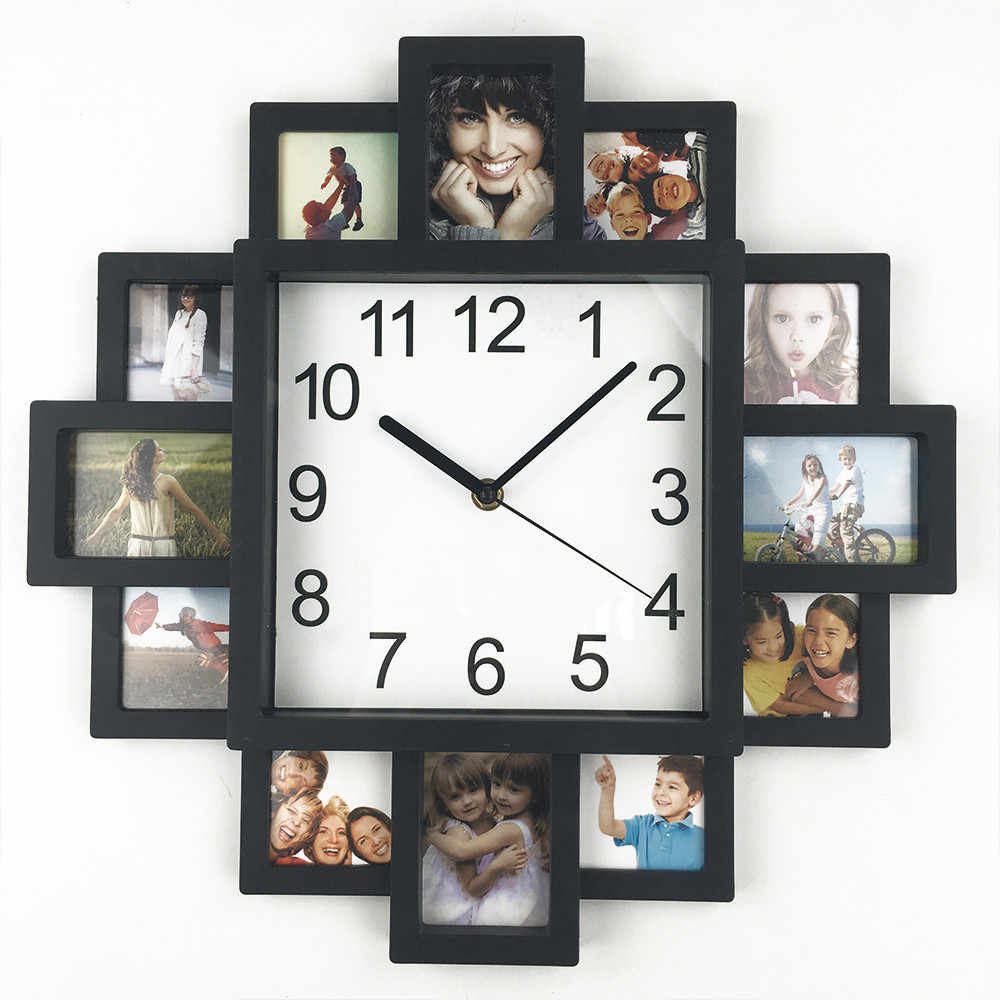 Create Your Own Custom 12 Photos Collage Instagram Custom Home Wall Clock Personalized Family Photos Printed Clock Wall Watch Wall Clocks Aliexpress